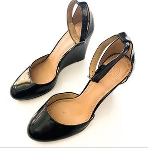 Tory Burch Black Patent Leather Wedges Pumps 10.5